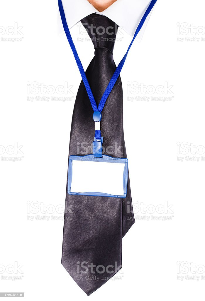 Blank ID Badge  with tie royalty-free stock photo