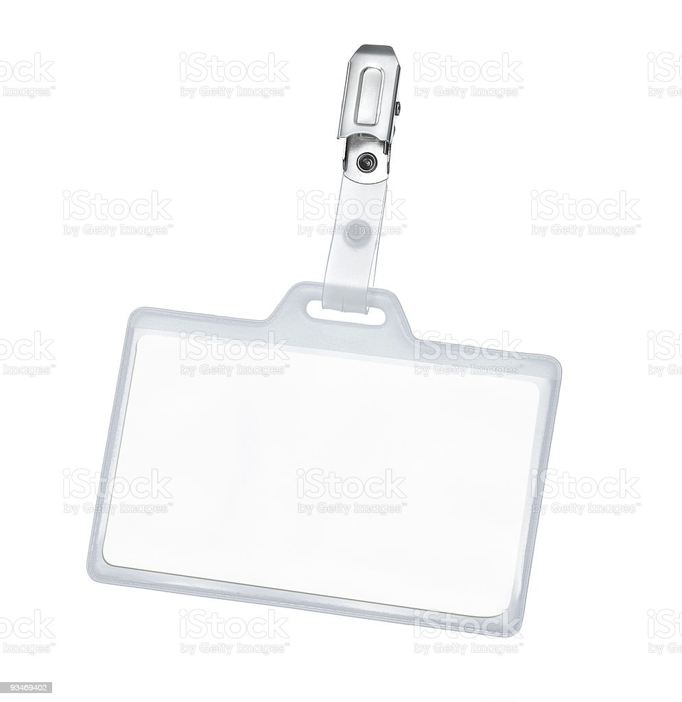 Blank Id card with copy space against white background stock photo