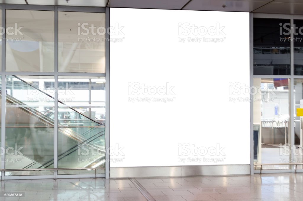 Blank illuminated advertising board with copy space stock photo