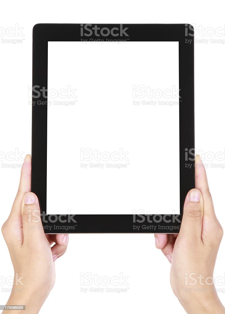 Blank image of two hands holding a large tablet device royalty-free stock photo