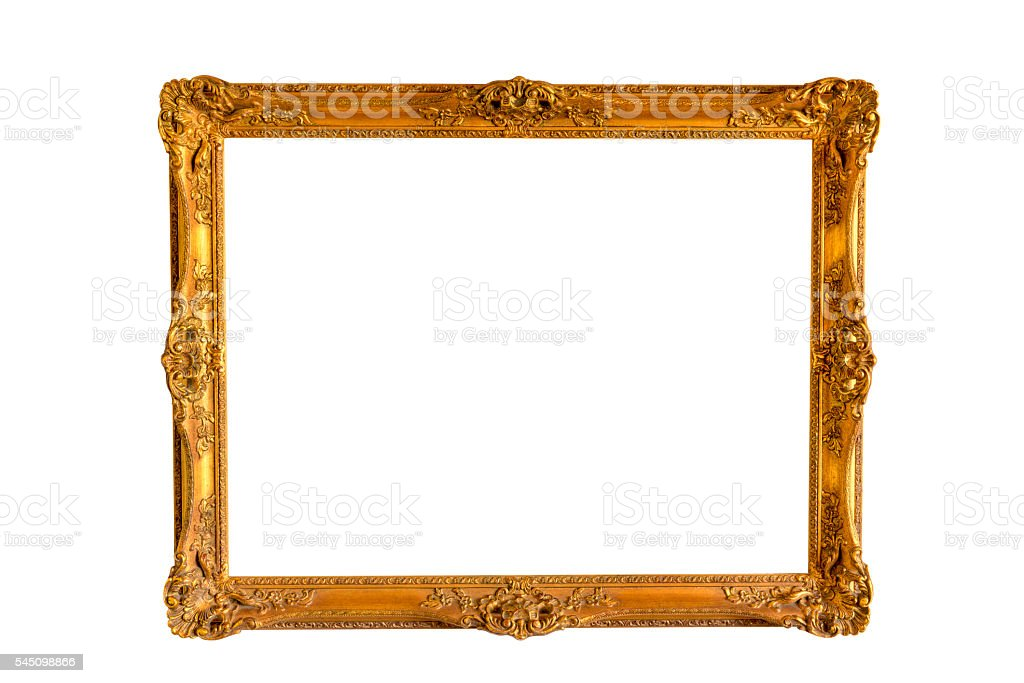 Blank Image-Frame Gold Vintage Retro Isolated White Clipping-Path stock photo