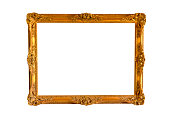 Blank Image-Frame Gold Vintage Retro Isolated White Clipping-Path