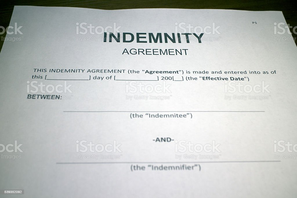 Blank Indemnity Agreement Form Stock Photo 539352092 | Istock