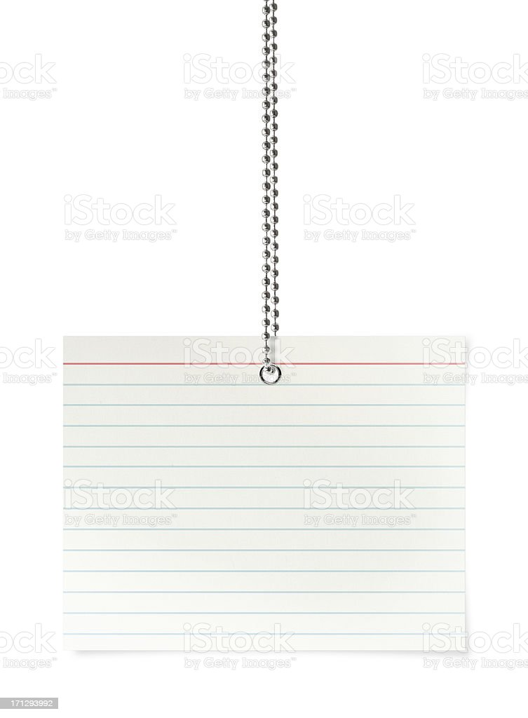 Blank Index Card (Clipping Path) stock photo