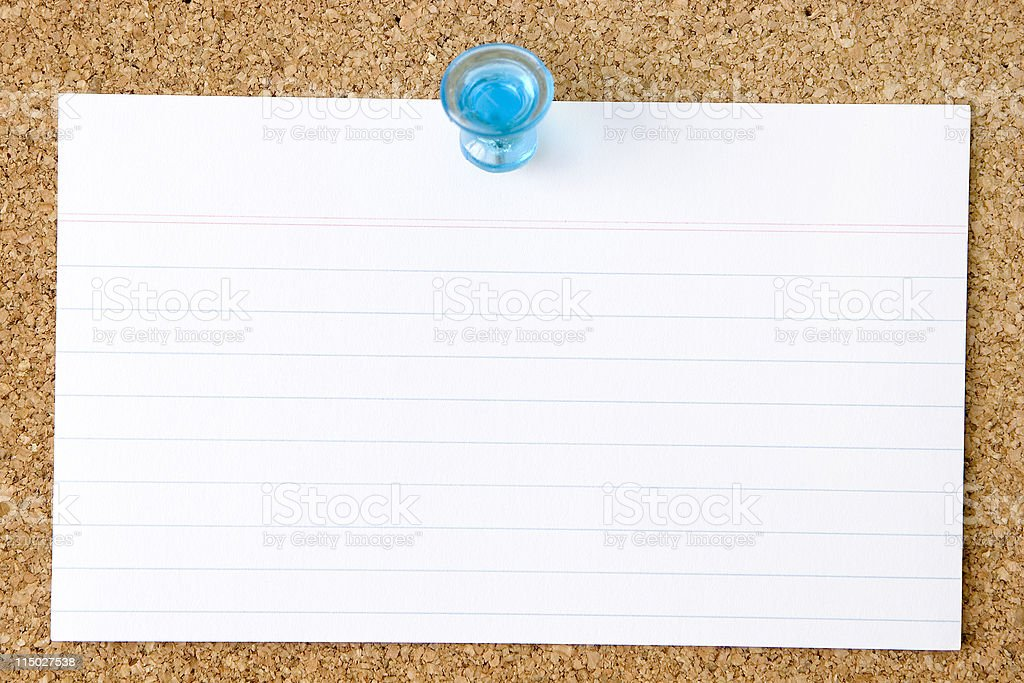 Blank Index Card stuck to a Corkboard stock photo