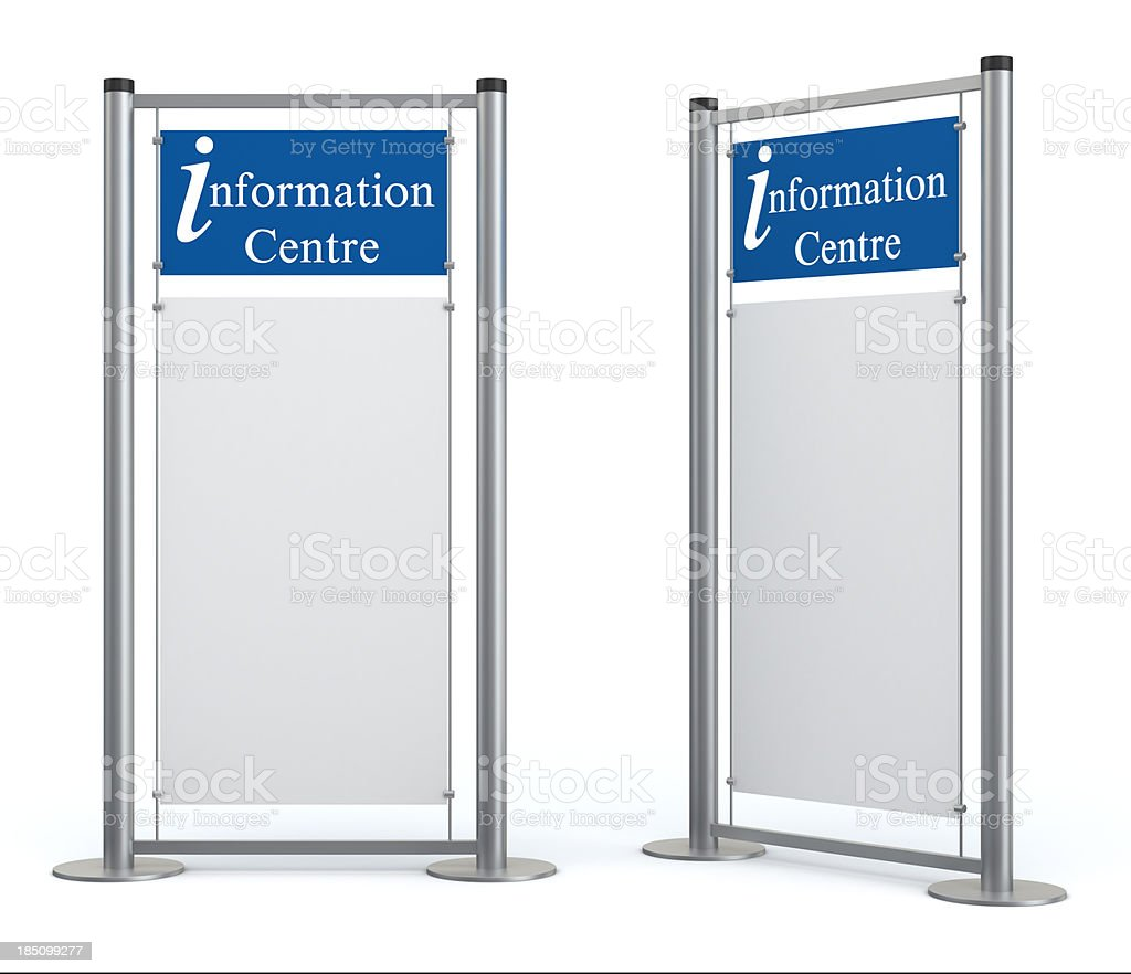 Blank information center stand stock photo