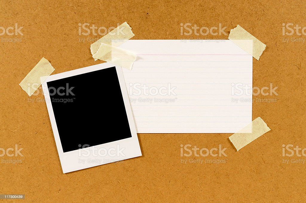 Blank instant photo print with index card royalty-free stock photo