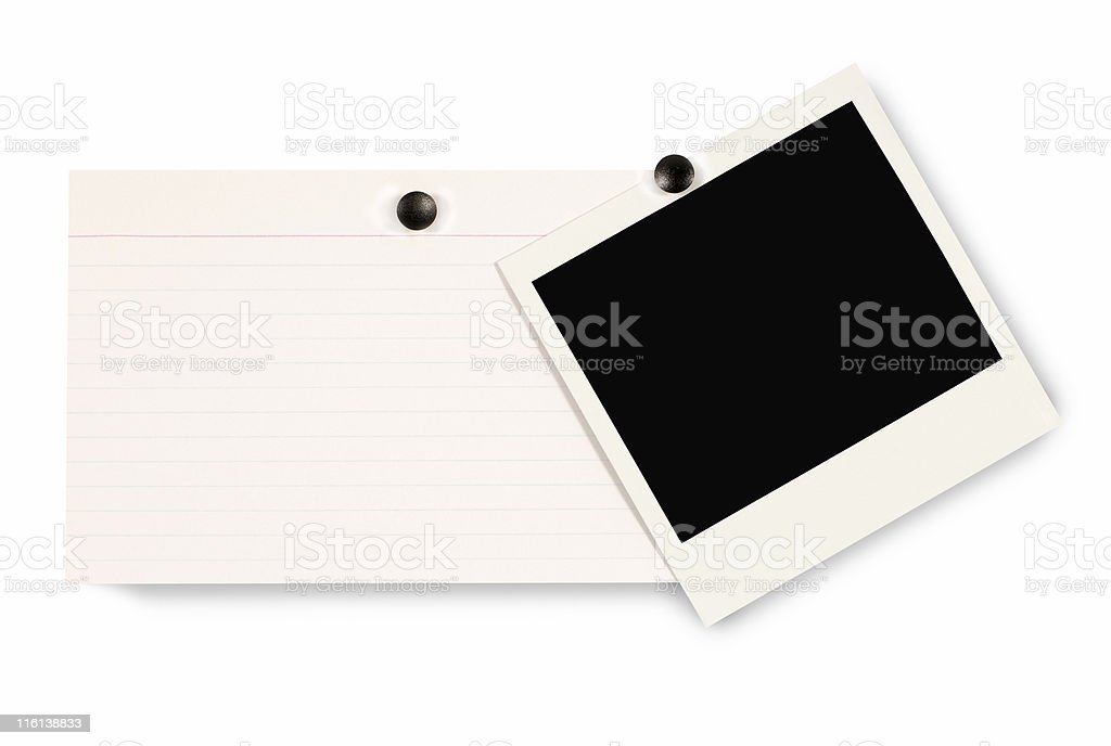 Blank instant picture print with index card royalty-free stock photo