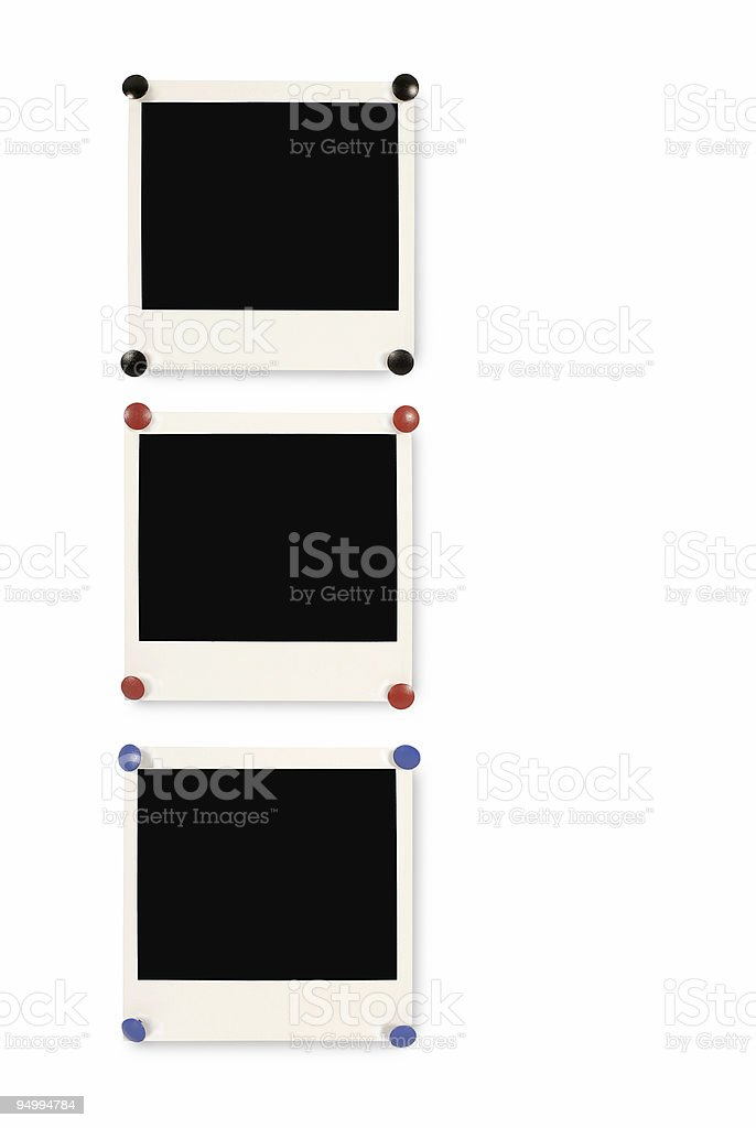 Blank instant picture prints stock photo