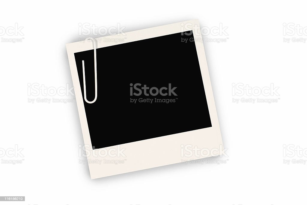 Blank instant print picture with paper clip stock photo