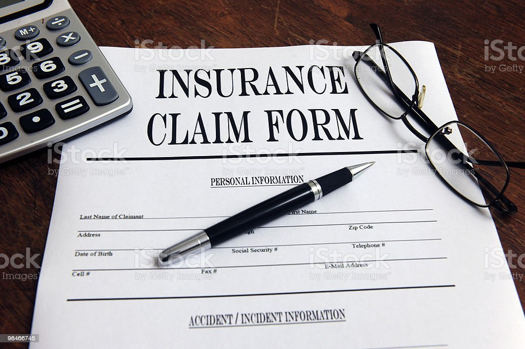 Blank insurance claim form royalty-free stock photo