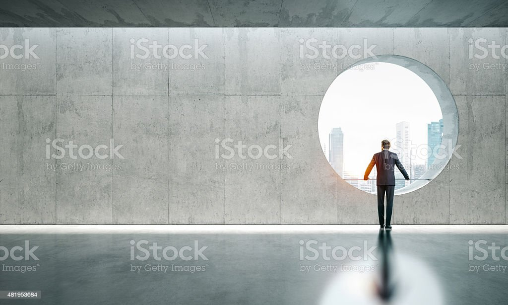 Blank interior with window and man stock photo