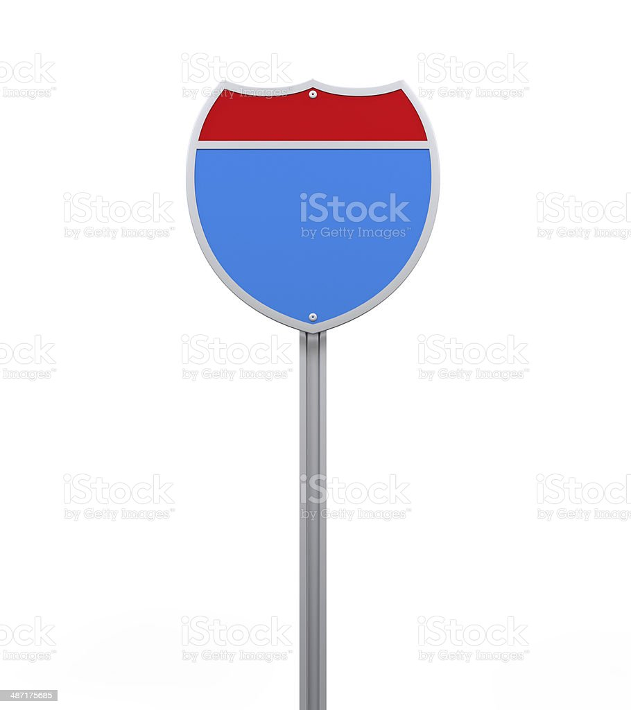 Blank Interstate Road Sign stock photo