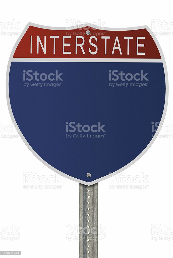Blank Interstate Sign with Path stock photo