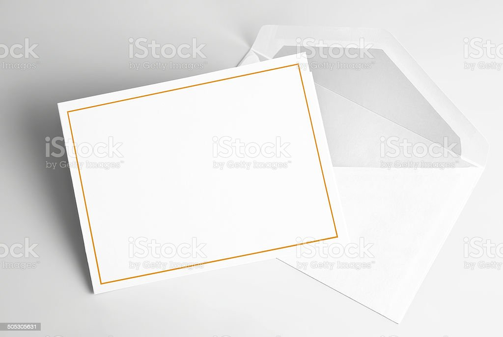 Blank invitation card and envelope stock photo