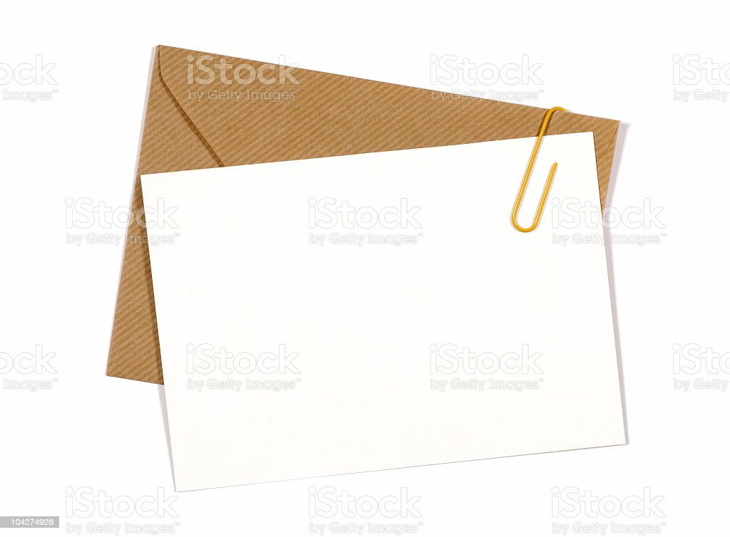 A blank invitation card with a brown envelope royalty-free stock photo