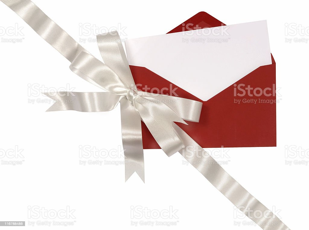 Blank invitation card with red envelope and silver ribbon royalty-free stock photo