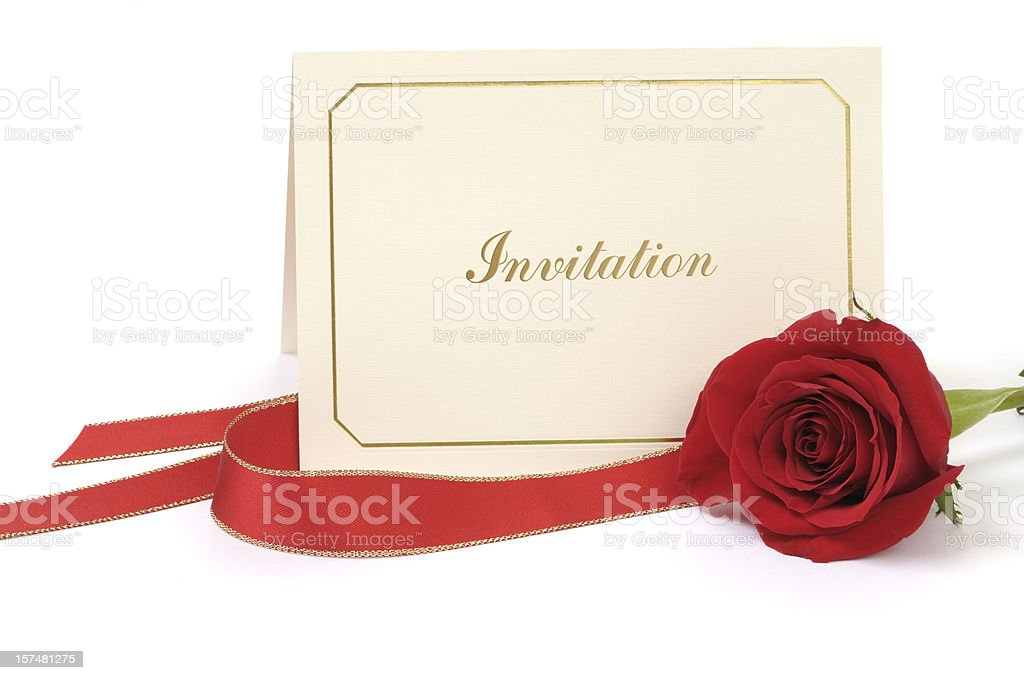 Blank Invitation card with rose stock photo