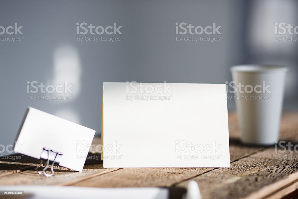 Blank invitation greetings card stock photo