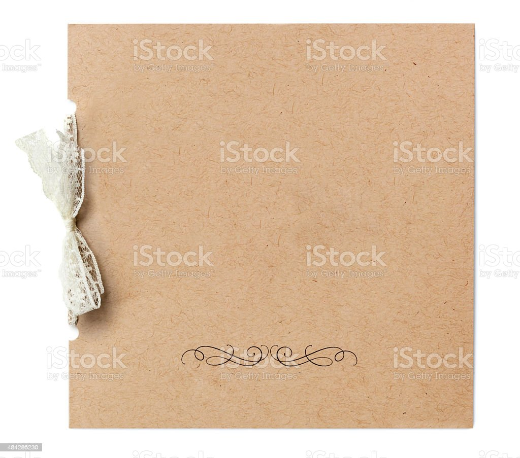 Blank Invitation tied with Lace Ribbon Isolated on White stock photo