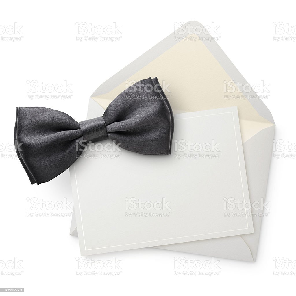 Blank invitation with bow tie. royalty-free stock photo