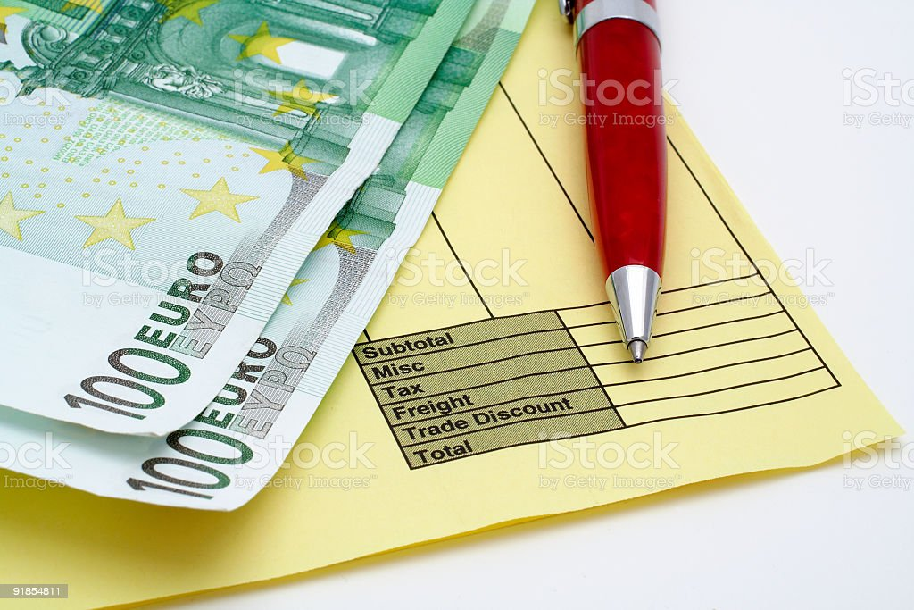 Blank invoice with pen and money (euros) royalty-free stock photo