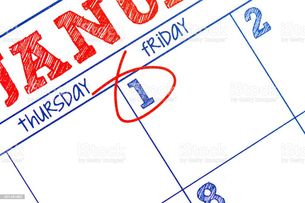 Blank January calendar showing New Year's Day stock photo