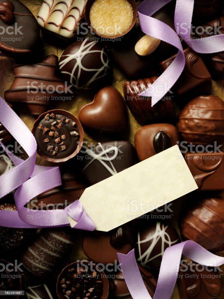Blank Label on Chocolates royalty-free stock photo