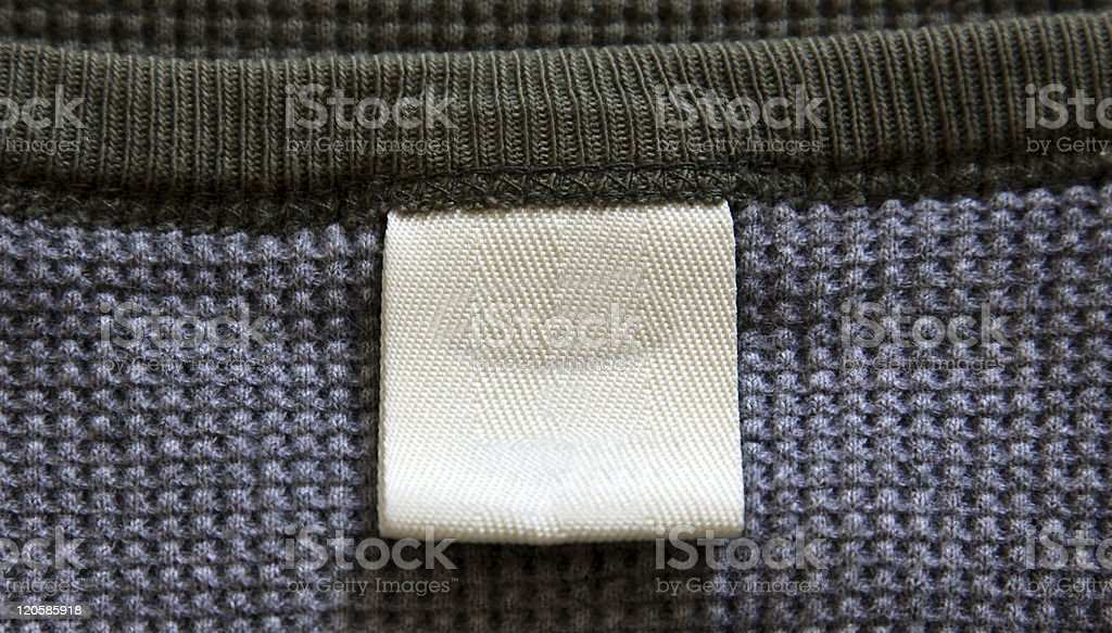 Blank label on thermal shirt neck stock photo