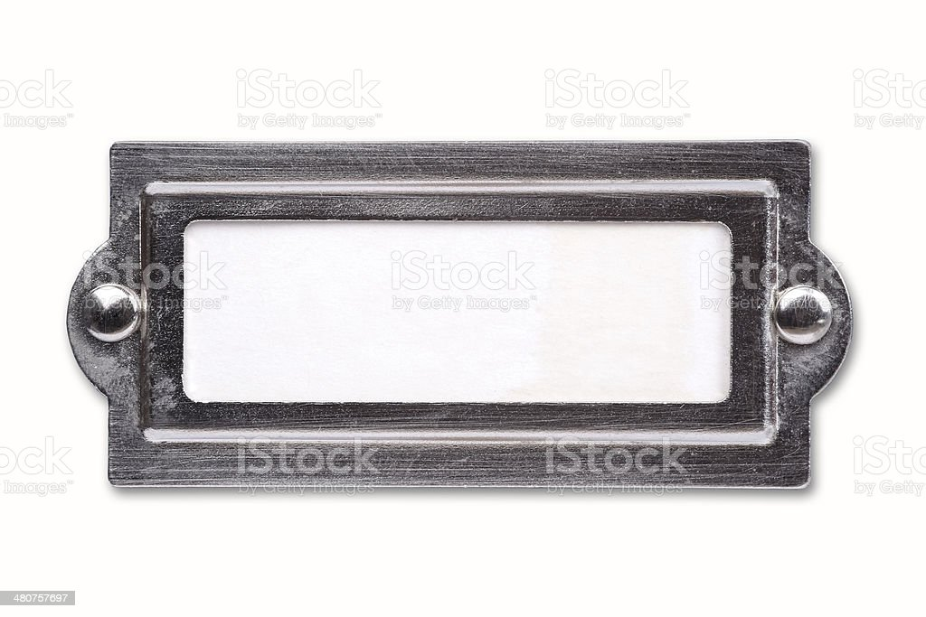 Blank label with metal boarder stock photo