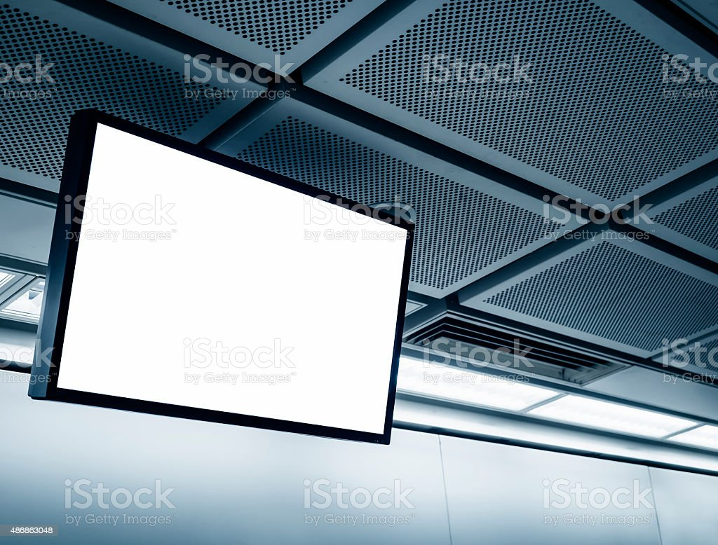 Blank LCD Screen display mock up banner in Subway station stock photo