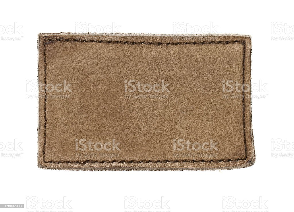 Blank leather label stock photo