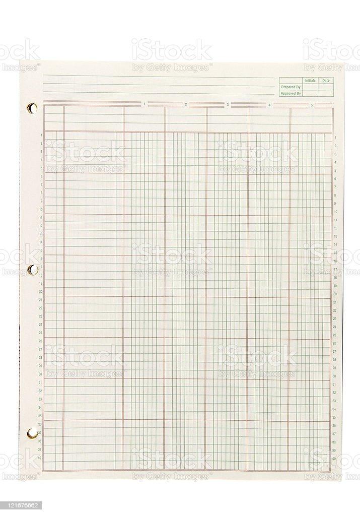 Blank Ledger Paper stock photo