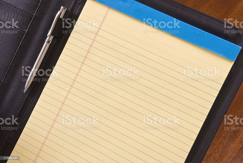 Blank Legal Pad in Leather Folio with Copy Space royalty-free stock photo
