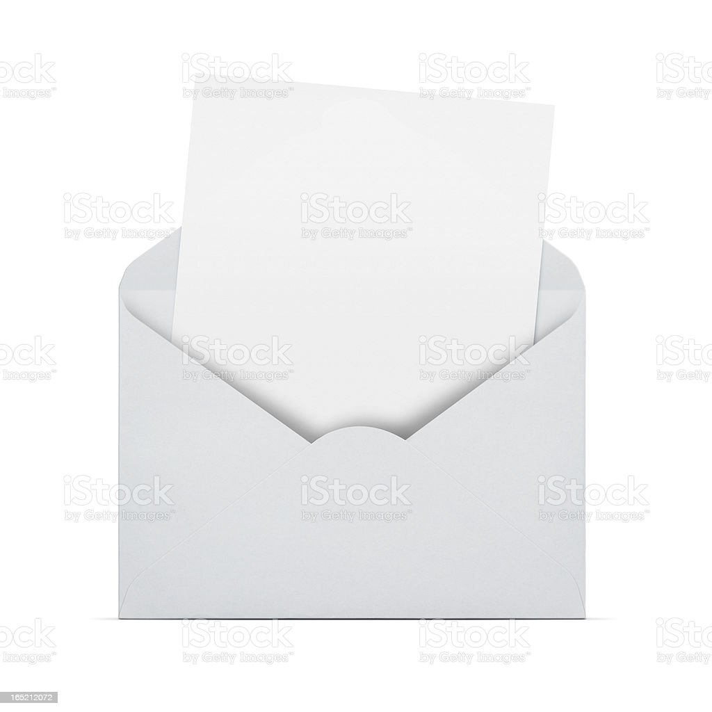Blank letter in an envelope stock photo