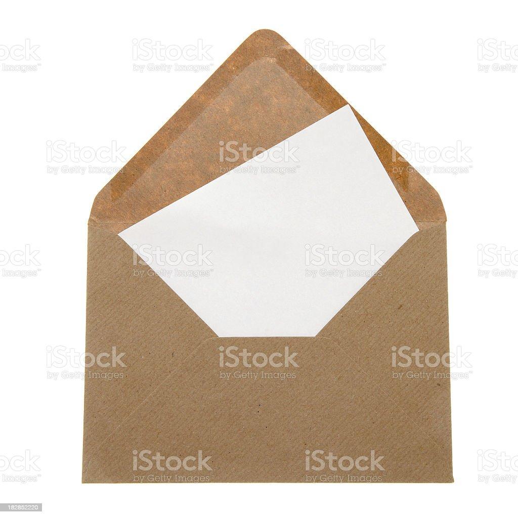 Blank letter in brown envelope stock photo