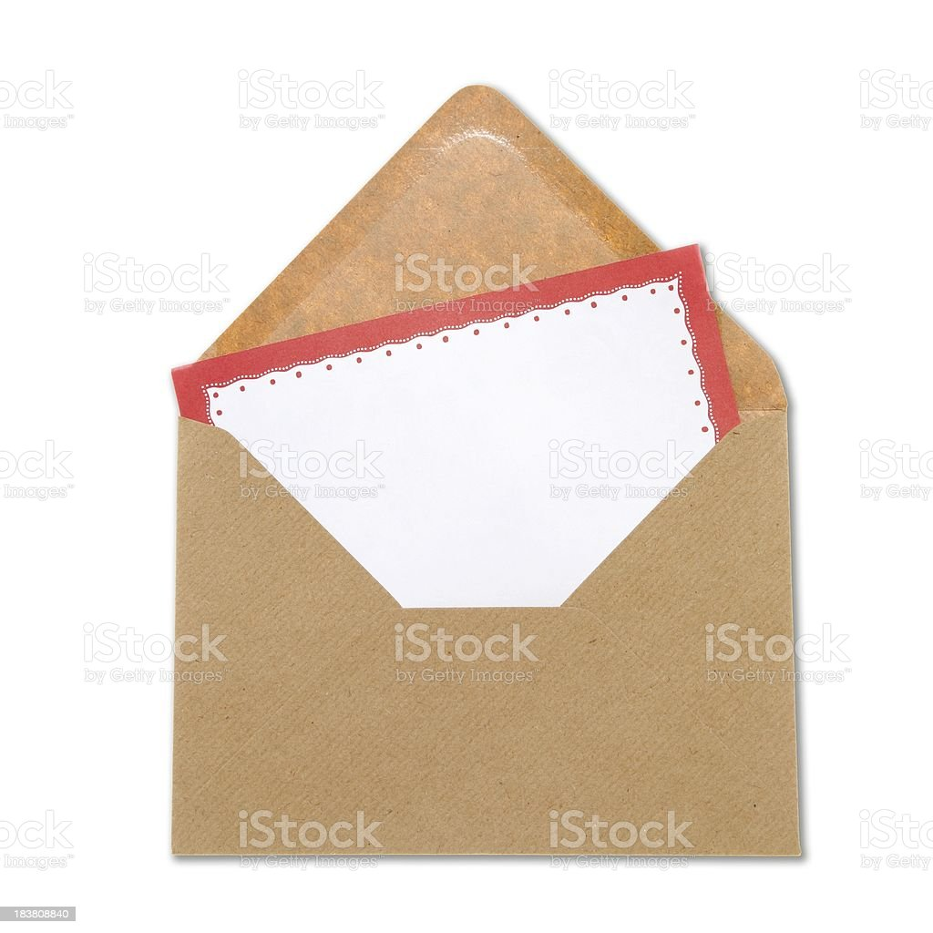 Blank letter in brown envelope stock photo