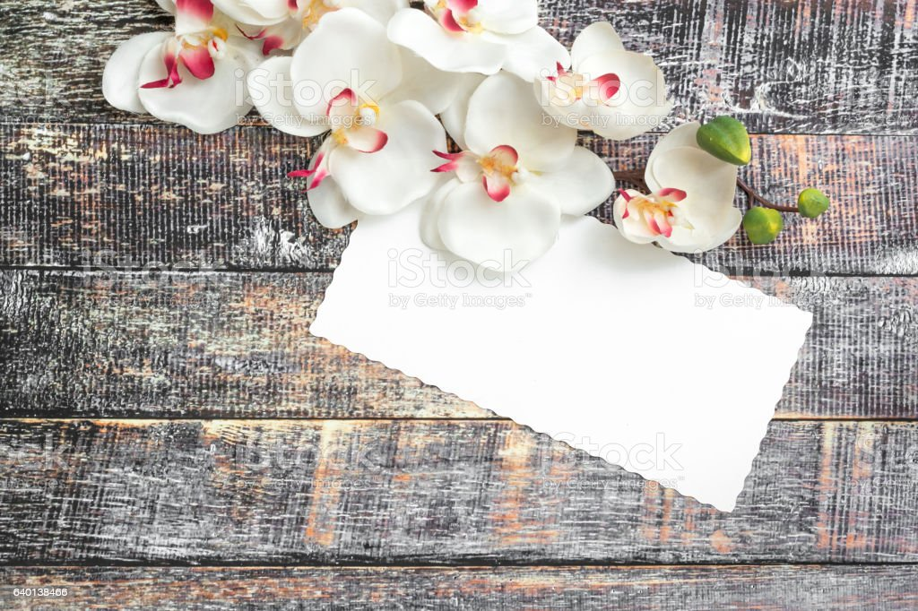 Blank letter with orchid flowers stock photo