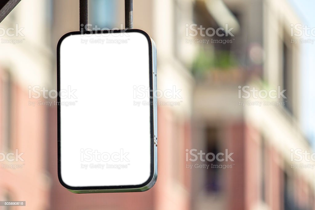 blank lightbox in city stock photo