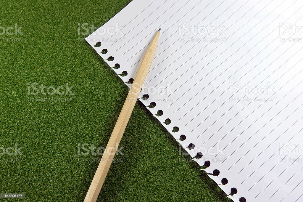 Blank line paper and pencil on green grass royalty-free stock photo