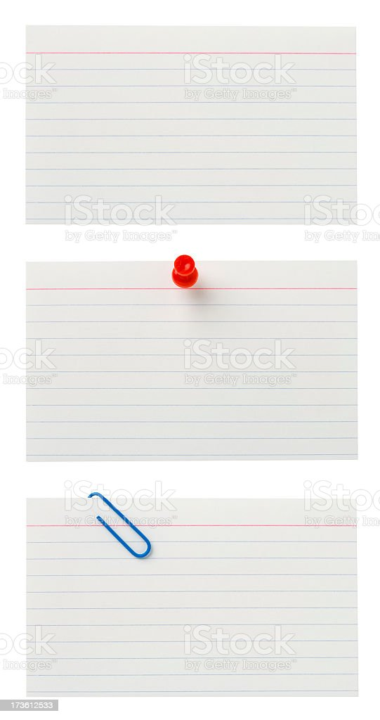 Blank Lined Index Cards with Clipping Paths. stock photo