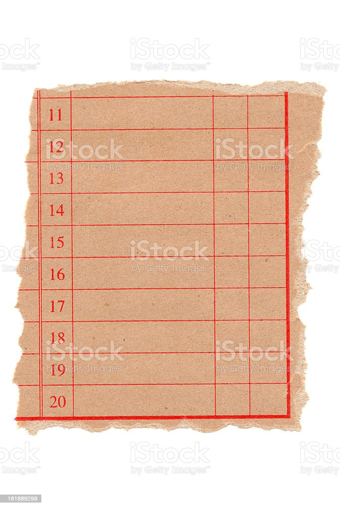 Blank list form paper isolated on white background royalty-free stock photo