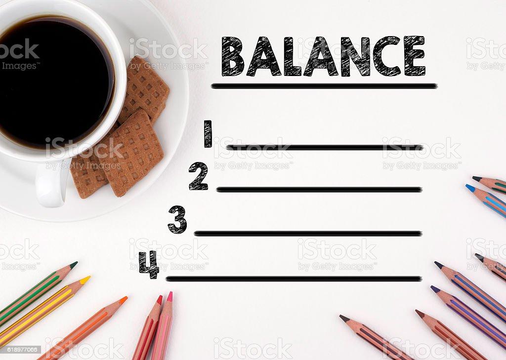 BALANCE blank list stock photo