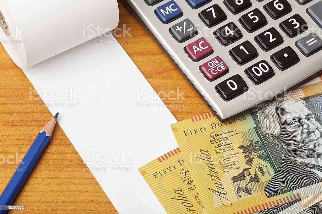 Blank list with Australian dollars and calculator stock photo