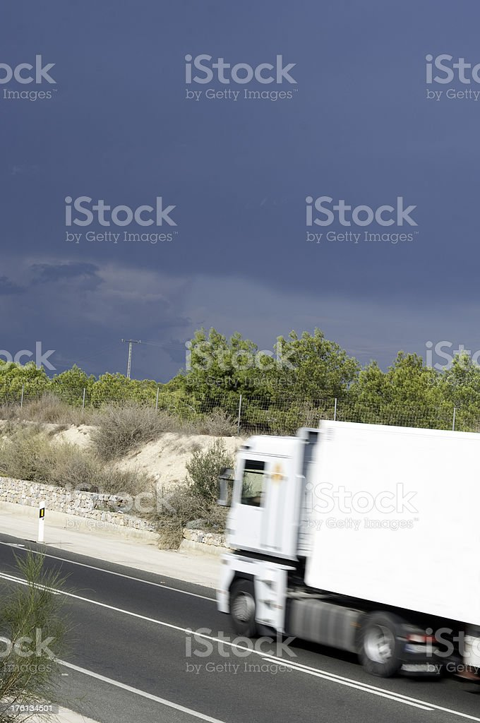 Blank lorry with storm approaching royalty-free stock photo