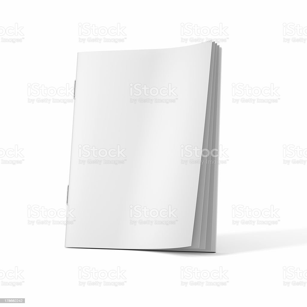A blank magazine book on a white background stock photo
