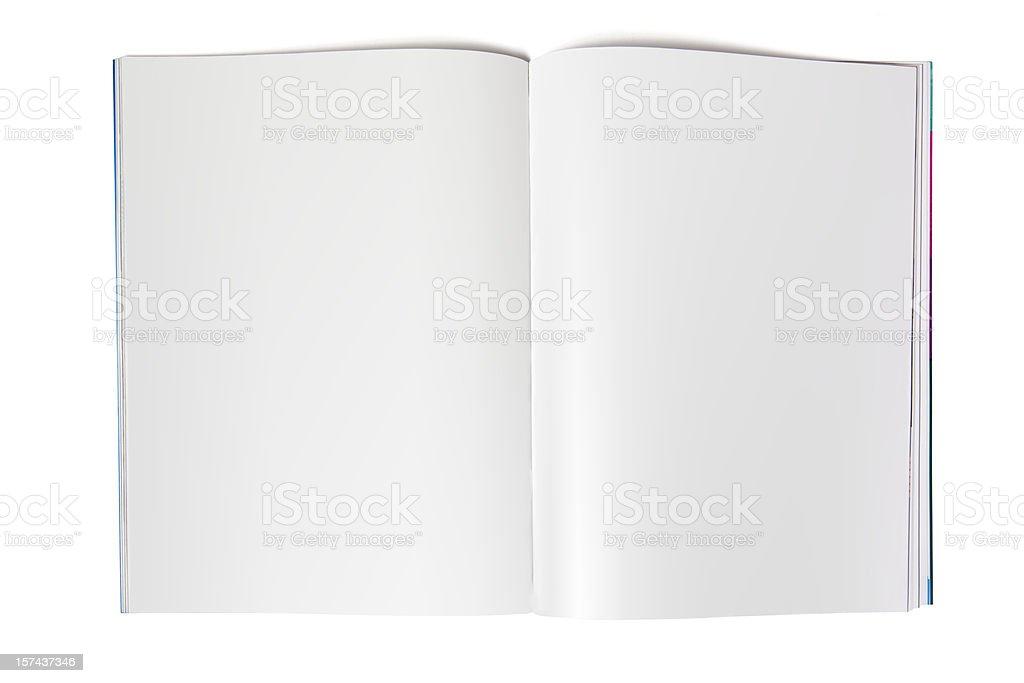 Blank magazine spread on white stock photo