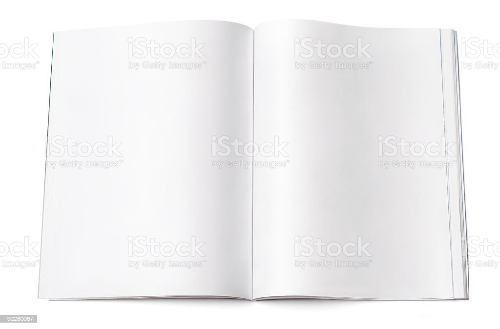 Blank magazine spread stock photo