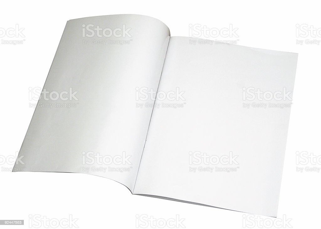 Blank magazine spread w/ path royalty-free stock photo