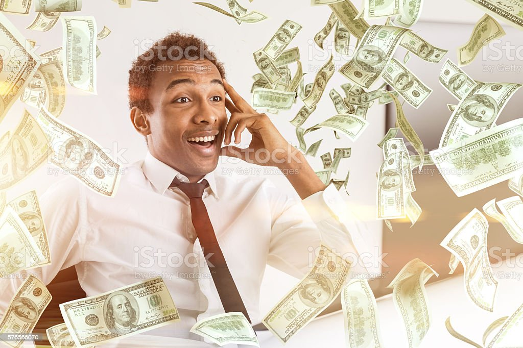 Blank man in dollar rain stock photo